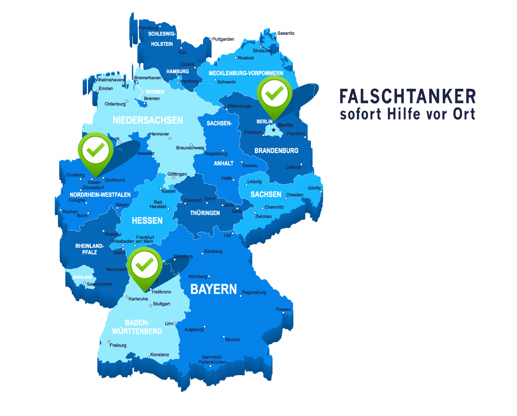Servicegebiete: Baden-Württemberg, Berlin, Nordrhein-Westfalen